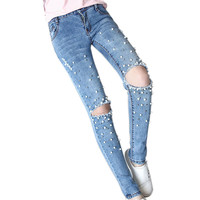 Women Jeans with Beads Handwork Pearl Pantalones Vaqueros Mujer Fashion Hole Ripped Jeans Mom New Burr Female Denim Pencil Pants