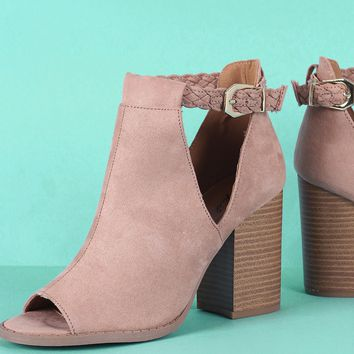 Qupid Peep Toe Suede Cutout Stacked Chunky Heeled Booties
