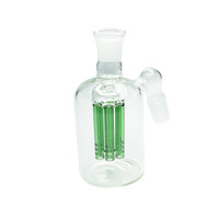 Clear Six Arm Ash Catcher with Green Percolator - 18mm