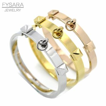 FYSARA Fashion Jewelry Rock Gold-Color Pyramid Bracelets & Bangles for Women Titanium Steel Rivet Bangles Nail Love Bracelets