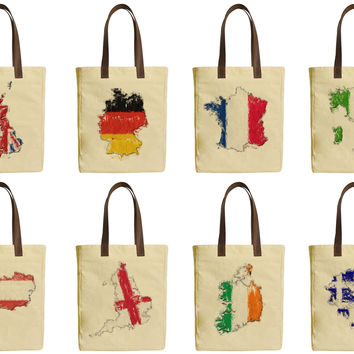 National Flags and Maps Beige Printed Canvas Tote Bags Leather Handles WAS_30