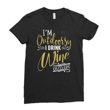 wine outside Ladies Fitted T-Shirt