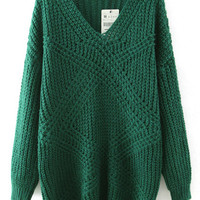 Green V Neck Mohair Long Sleeve Sweater