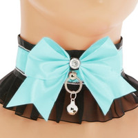 Turquoise satin lace Kitten Collar, Kitten Play Collar, princess, neko Choker, Kittenplay Collar BDSM, ddlg, Goth kawaii lolita collar HT3