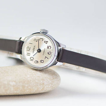 Women watch silver face, women's watch Seagull, micro watch woman, retro watch jewelry, unique lady's watch gift, premium leather strap new