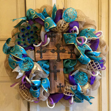 Peacock Feather Wreath, Burlap Wreath, Spring Wreath, Summer Wreath, Purple Wreath, Peacock Wreath, Teal Wreath