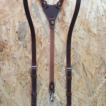 Leather Suspenders · Wedding Suspenders · Men's & Women's Suspenders - Barcelona Custom Brown Habana
