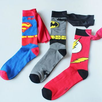 batman superman Cosplay socks The Flash cartoon style DC Knee-High summer casual personality socks funny unisex student 2017