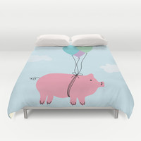When Pigs Can Fly Duvet Cover by Doucette Designs