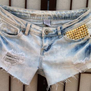 After Hours Bleached Shorts with Studs