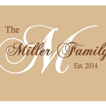 Family Room, Last Name, Vinyl Lettering, Vinyl Wall Art, Family Name Vinyl Wall Decal, Establised Date