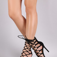 Vegan Suede Strappy Loop Lace Up Heels | UrbanOG