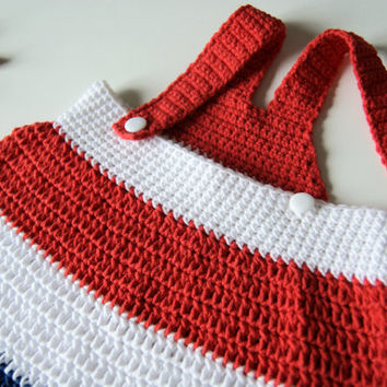 Patriotic baby girl outfit, crochet baby dress, 4th of July baby dress, american flag clothing, soft cotton girls dress