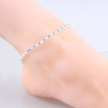 925 Sterling Silver Cute Women Ankle Bracelet Ladies Anklet Ankle Chain Leg Jewelry