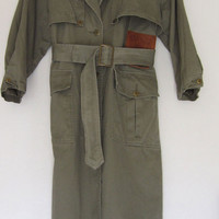 Vtg 80s Women's Army Green Leather Trench Coat Long Duster 100% cotton Small