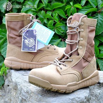 2017 Men Army Tactical Boots Outdoor Hiking Military Ankle Boots Leather Summer Desert safety Shoes Men's Footwear Combat