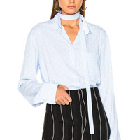 Haider Ackermann Polka Dot Inside Tie Shirt in Pale Blue & Byron White | FWRD