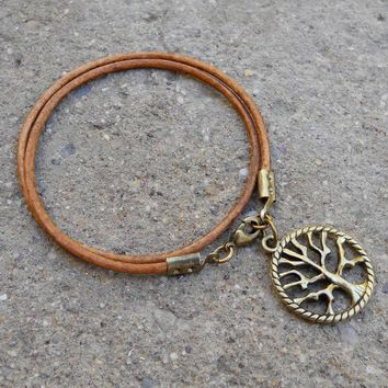 Wisdom - Greek Leather Wrap Bracelet Tree Of Life