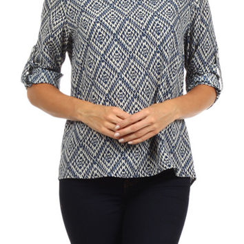Blue Aztec Top
