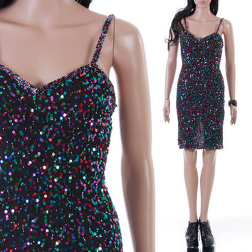 Vtg Silk and Sequin Sparkly Cocktail Mini Dress Goth Glam LBD Short Party 1980's 90s Clothing Womens Size Small