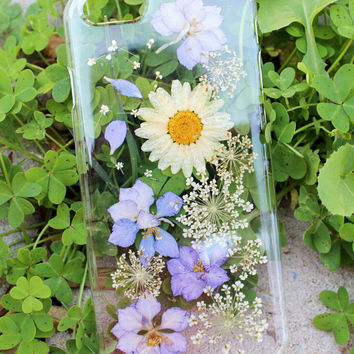 Handmade Real Daisy iPhone 7 7Plus & iPhone se 5s 6 6 Plus Case LIMITED-Tanacrafts Cover