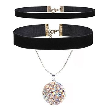 BodyJ4You 4PC Jewelry Gift Set Black Choker Pave Crystals Ferido Ball Necklace Stud Earrings