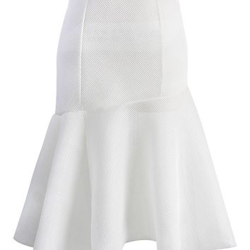 Frill Hem Honeycomb Mesh Skirt in White