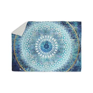"Nina May ""Ornate Boho Mandala"" Blue Teal Mixed Media Sherpa Blanket"
