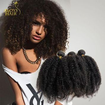 6A Brazilian Afro Kinky Culry Hair Human Hair Weaves 50g/pc Natrual Black Afro Kinky Hair Extension