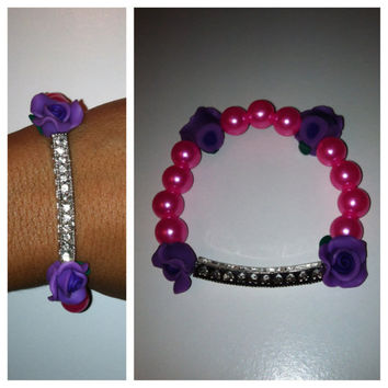 Pink Sideways Rhinestone Bar Bracelet with Purple Flowers