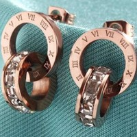 VONEYW7 bvlgari 18k rose gold roman numerals double ring earrings south korea wild color clavicle chain