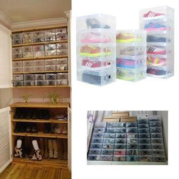 High Quality 10pcs/lot Foldable Plastic Shoe Storage Case Boxes bag Stackable Organize