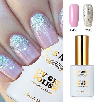 RS 2 PIECES 049-296 Gel Nail Polish UV LED Sequined Gel Varnishes Soak Off 15ml New Nail Gel Gel For Nail Extensions