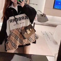 """"""" Burberry"""" Woman Casual Simple Blouse Tartan Fashion Letter Printing Long Sleeve Sweater Tops"""