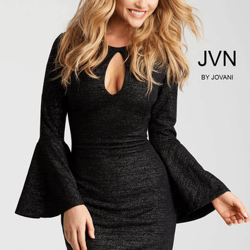 Jovani JVN51432 Metallic Bell Sleeve Dress
