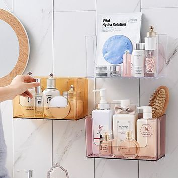 ANFEI Wall Mount Toilet Shower Storage Makeup Organizer Wall Rack Plastic Nordic Shampoo Holder Bathroom Storage Wall Shelf C236