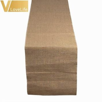 5pcs/lot 30x275cm Natural Jute Table Runner for Wedding Burlap Table Runners Home Textiles Home Country Party Decoration