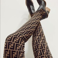 FENDI trend female models over the knee boots thick with knit stitching wool letter pointed high heel socks