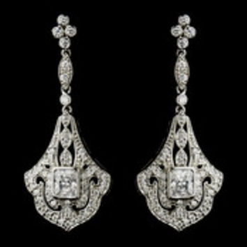 Antique Silver Clear CZ Crystal Chandelier Bridal Earrings 8651