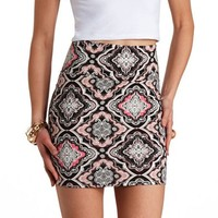 PAISLEY PRINT BODYCON MINI SKIRT
