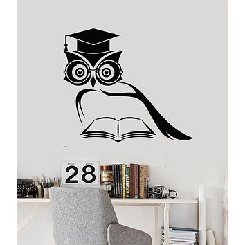 Vinyl Wall Decal Learning Scientist Owl Book Library Classroom Stickers Mural (g2522)