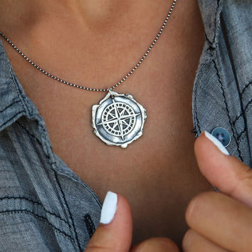 Handmade Sterling Silver Compass Wax Seal Necklace