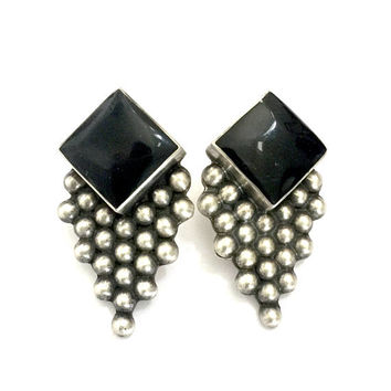Mexican Sterling Silver & Onyx Earrings, Pierced Earring, Onyx Square Cabs, Dimensional, Bead Ball Sterling Drop, Vintage Statement Earrings
