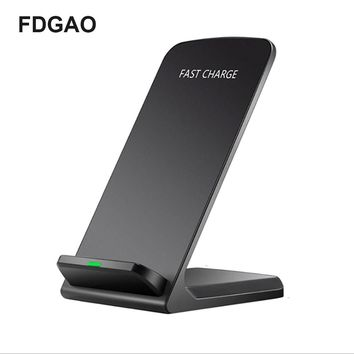 FDGAO QI Wireless Charger Fast Wireless Charging Smart Mobile Phone Charger Dock for IPhone X/8p/8 Samsung S9/S8/S7