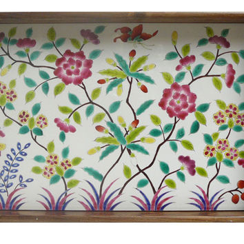 Chinese Porcelain Tile Flower Butterflies Theme Wooden Tray cs271s