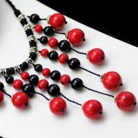 Chinese style red painting stone agate long short Women sweater necklace