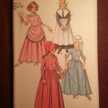Uncut 1970's Simplicity Sewing Pattern, 9136 or 9516! 8 or 14 Girls/Reenactment costumes/Princess/Pilgrim/Prairie Dress/Victorian/Centennia