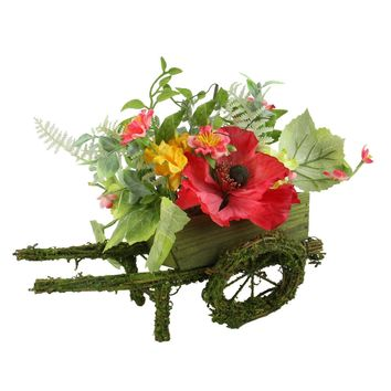 """12"""" Decorative Red Poppy and Orange Wildflower Artificial Floral Wheelbarrow Table Top Decoration"""
