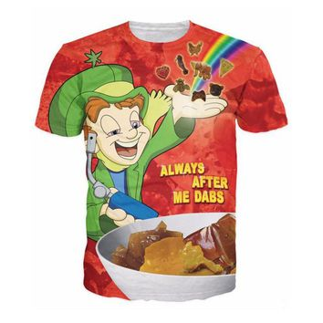 Always After Me Dabs Lucky Charms Spoof All-Over Print Sublimated Red T-Shirt