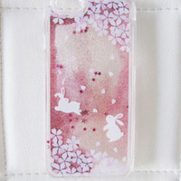 iPhone 6S phone case liquid glitter clear hipster rabbit waterfall quicksand